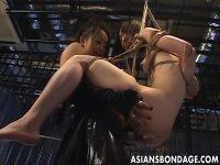 【SMセックス動画】全裸でロープに縛られて吊るされた女がレズ女王様の極太のペニバンでおまんこを犯される